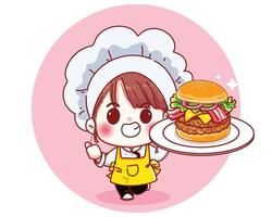 carino chef tenere grande hamburger sorridente fumetto illustrazione vettore