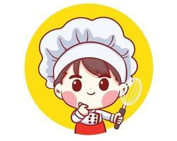 carino, panificio, chef, ragazzo, presa a terra, frusta, cartone animato, arte, vettore, illustrazione vettore