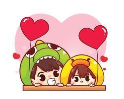 coppia di amanti che tiene palloncini a forma di cuore illustrazione del personaggio dei cartoni animati di San Valentino felice vettore