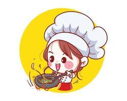 chef ragazza sorridente felice e cucina con amore nella sua cucina vettore