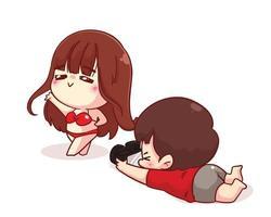 il ragazzo carino scatta una foto della sua ragazza che indossa l'illustrazione del personaggio dei cartoni animati del costume da bagno vettore