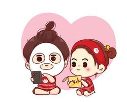 coppia che fa una maschera sui loro volti illustrazione del personaggio dei cartoni animati di San Valentino felice vettore