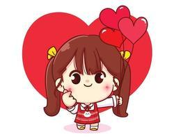 ragazza carina che fa un cuore con le sue mani illustrazione del personaggio dei cartoni animati di San Valentino felice vettore