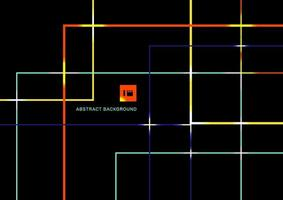linee geometriche astratte di colore vibrante si sovrappongono con la luce su sfondo nero. vettore