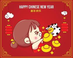 ragazza felice e mucca sveglia che tiene oro cinese, illustrazione del personaggio dei cartoni animati di celebrazione del capodanno cinese felice vettore
