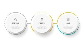 modello di infografica timeline. concetto di affari con cerchio e 3 opzioni o passaggi. può essere utilizzato per diagramma del flusso di lavoro, grafico informativo, relazione annuale o web design.