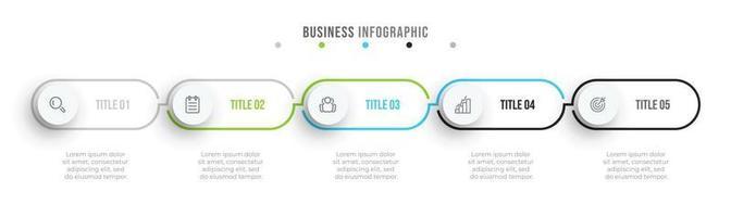 etichetta di design infografica minima linea sottile con cerchi. timeline con 5 opzioni o passaggi. può essere utilizzato per diagramma del flusso di lavoro, grafico informativo, web design.