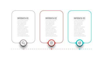 elementi di design etichetta linea sottile per infografica. concetto di affari con 3 opzioni o passaggi. può essere utilizzato per il layout del flusso di lavoro, il diagramma di flusso, il web design. vettore