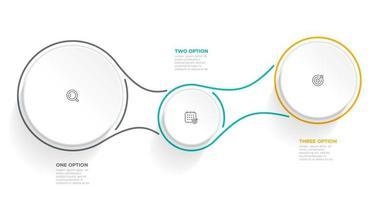 moderno modello di progettazione infografica con cerchi e icone. illustrazione vettoriale. timeline con 3 opzioni o passaggi. vettore