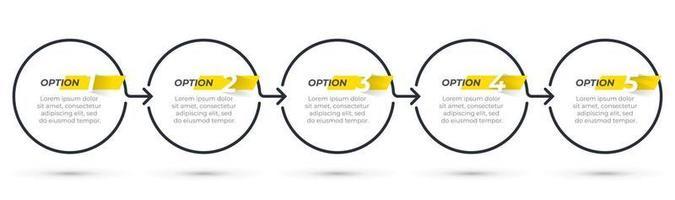 modello di business infografica sottile linea di design con icone e 5 opzioni o passaggi. illustrazione vettoriale. vettore