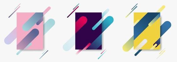 set di modelli di modelli di poster di copertina con composizione dinamica composta da varie linee arrotondate di colore che forma linee in ritmo diagonale.
