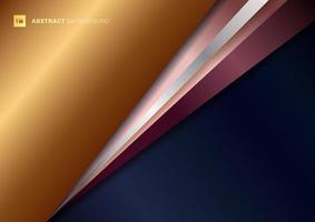 sfondo astratto triangolo geometrico blu con sovrapposizione diagonale oro, argento e oro rosa con ombra. vettore