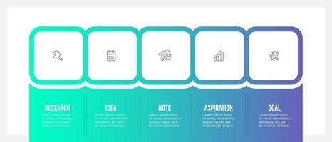 modello di progettazione infografica aziendale con icone e 5 opzioni o passaggi. modello di business vettoriale per la presentazione.