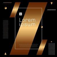 astratto moderno oro alla moda e elemento di forma geometrica bianca su sfondo nero stile minimal.