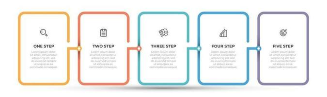 modello di progettazione infografica vettoriale con icona e processi di linea sottile. concetto di affari con 5 opzioni o passaggi.