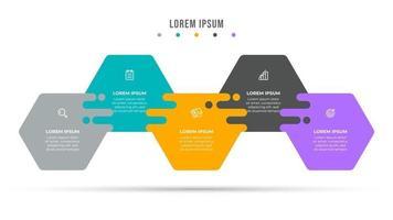 modello di business infografica 5 opzioni o passaggi. disegno del modello di vettore con l'icona. può essere utilizzato per diagramma del flusso di lavoro, grafico informativo, relazione annuale.