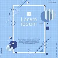 modello creativo rettangolo bordo cornice blu cerchio geometrico, triangolo, linea arrotondata, quadrato su griglia texture di sfondo stile minimal vettore