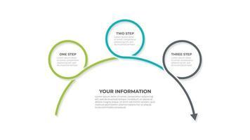 modello di progettazione infografica vettoriale con frecce e 3 opzioni o passaggi. può essere utilizzato per la relazione annuale, il grafico informativo, il web design.