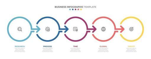 modello di progettazione infografica timeline con frecce e cerchi. concetto di affari con 5 opzioni, passaggi, parti. vettore