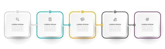 progettazione di etichette grafiche di informazioni vettoriali con icone e oggetti quadrati moderni. concetto di affari con 5 opzioni o passaggi. può essere utilizzato per la relazione annuale, il grafico informativo, il design wen.