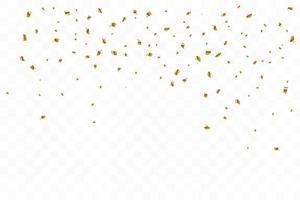 molti coriandoli dorati di lusso che cadono. festa di compleanno. illustrazione vettoriale