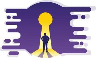 illustrazione dell'uomo nel buco della serratura vettore