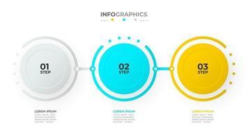 timeline infografica modello di disegno vettoriale con cerchi e numeri. concetto di affari con 3 opzioni o passaggi.