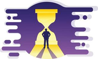 illustrazione dell'uomo nel buco del tempo vettore