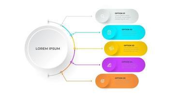 modello di infografica timeline. progettazione del concetto di business con cerchi e 5 opzioni, passaggi o processi.