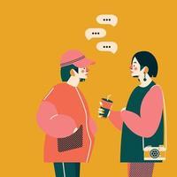 due ragazze che parlano insieme. illustrazione vettoriale alla moda. colori alla moda