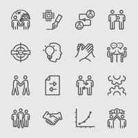 set di icone di linea di partnership commerciale