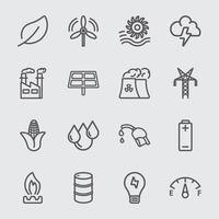 set di icone di linea di energia vettore