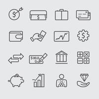 set di icone di linea di finanza vettore