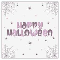 felice halloween spaventoso e spettrale disegno di testo con ragni e web vettore