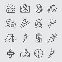 set di icone di linea di campeggio vettore