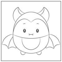 Happy halloween simpatici pipistrelli disegno schizzo per colorare vettore