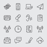set di icone di linea di comunicazione vettore
