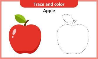 traccia e colora la mela vettore