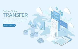 trasferimento digitale online isometrico 3d piatto vettore