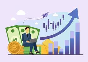 uomo d'affari analisi valuta digitale concetto finanziario vettore
