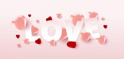 poster o banner di vendita di San Valentino con molti cuori dolci e testo d'amore su sfondo di colore rosa tenue. modello di promozione e shopping o per amore e San Valentino.