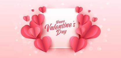 poster o banner di vendita di San Valentino con molti cuori dolci e su sfondo di colore rosa. modello di promozione e shopping o per amore e San Valentino. vettore
