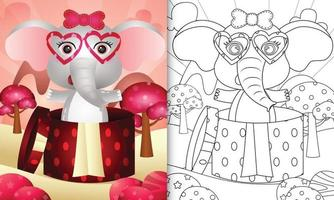 libro da colorare per bambini con un simpatico elefante nella confezione regalo per San Valentino vettore
