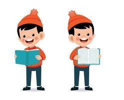 felice carino ragazzino leggendo un libro che indossa vestiti caldi. giacca da bambino nella stagione invernale vettore