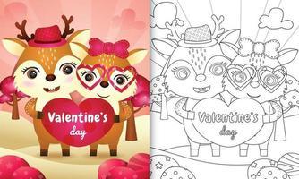 libro da colorare per bambini con coppia di cervi carino di San Valentino illustrato vettore
