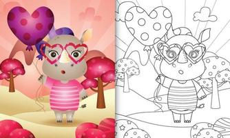 libro da colorare per bambini con un simpatico rinoceronte con palloncino per San Valentino