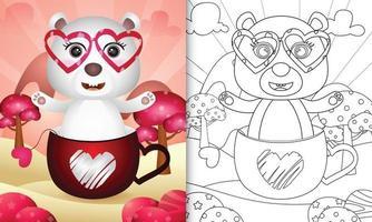 libro da colorare per bambini con un simpatico orso polare nella tazza per San Valentino vettore