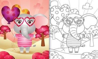libro da colorare per bambini con un simpatico elefante che tiene un palloncino per San Valentino vettore