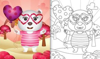 libro da colorare per bambini con un simpatico orso polare che tiene un palloncino per San Valentino vettore