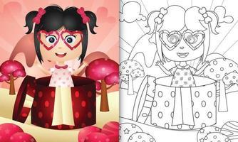 libro da colorare per bambini con una ragazza carina nella confezione regalo per San Valentino vettore